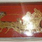 KURT S.ADLER GOLD PLATED BRASS SANTA REINDEER SLEIGHT CHRISTMAS TREE ORNAMENT 3D