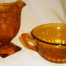 VNTG AMBER INDIANA GLASS DAISY PEDESTAL CREAMER & DOUBLE HANDLED SOUP SUGAR CUP