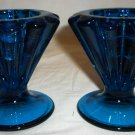 VINTAGE COBALT GLASS CONVOLUTED VARIABLE SIZE HEAVY CANDLE HOLDERS SET OF 2