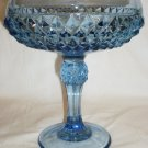 VINTAGE FENTON BLUE TURQUOISE GLASS DIAMOND POINT PEDESTAL CANDY DISH COMPOTE