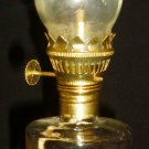 VINTAGE FOSTER FORBES GLASS HURRICANE OIL LAMP GOLD AMERICAN EAGLE SHIELD SET/2