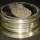 VINTAGE SILVERPLATED COASTERS IN A CADDY/WINE BOTTLE COASTER SET OF 6 PINEAPPLE