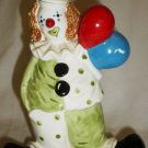 "VINTAGE PORCELAIN ENESCO CLOWN WITH BALLOONS 7"" FIGURINE COIN PIGGY BANK"
