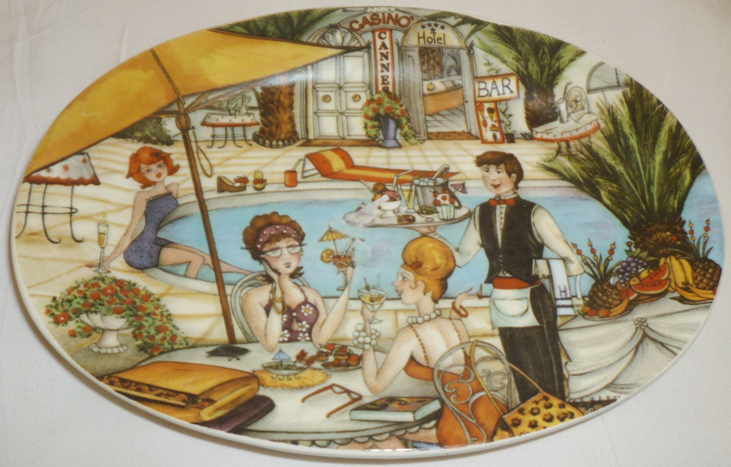 HANDPAINTED PORCELAIN OVAL PLATE CASINO CANNES HOTEL BAR ITALY