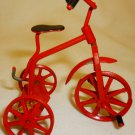 MINIATURE RED TRICYCLE PAINTED METAL BIKE DOLLHOUSE ROC