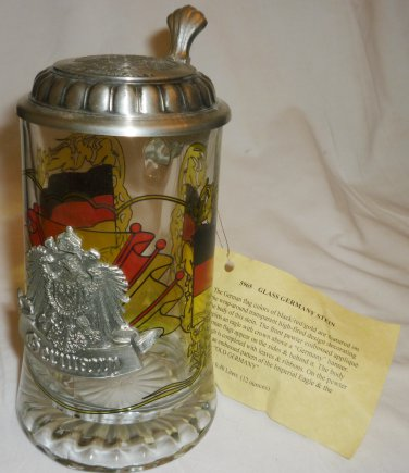 GLASS GERMANY FLAG PEWTER LIDDED STEIN EMBOSSED IMPERIAL EAGLE OLD GERMANY