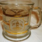 VINTAGE HILTON HEAD ISLAND GOLD EMBOSSED CLEAR GLASS COFFEE TEA MUG