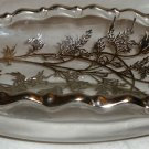 VINTAGE SILVER CITY OVERLAY DISH FLANDERS POPPIES GLASS BOAT BOWL RELISH DISH