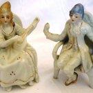 VINTAGE PORCELAIN FIGURINE SET OF 2 EDWARDIAN ERA WOMAN WITH MANDOLINE & MAN