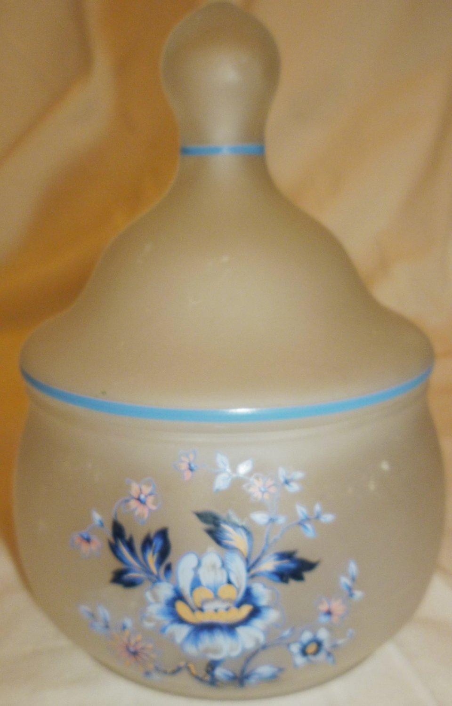 WESTMORELAND FROSTED GLASS FORGET ME NOT BLUE FLOWER DESIGN COVERED BOWL JAR