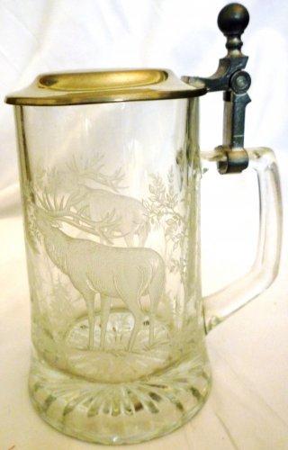 VINTAGE GLASS W/ PEWTER LID BEER STEIN ETCHED DEER STAG GERMANY !MUST SEE!