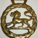 VINTAGE SOLID BRASS HORSE BRASSES HERALDIC LION
