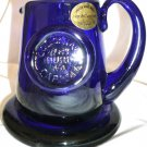 COBALT BLUE GLASS WILLIAMSBURG SHELTON WORKS JUG CREAMER W/COASTER HAND CRAFTEDa