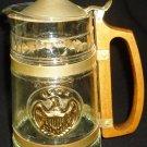 VINTAGE GLASS LIDDED BEER STEIN TANKARD PITCHER WOODEN HANDLE GOLD EAGLE