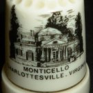COLLECTIBLE PORCELAIN THIMBLE TRAVEL MEMORABILIA MONTICELLO CHARLOTSVILLE VA
