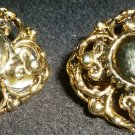 VINTAGE COSTUME JEWELRY GOLD COLORED CLUSTED EARRINGS CLIPS