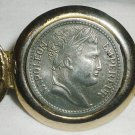 VINTAGE GOLD CASED & PEWTER NAPOLEON COIN HAIR CLIP