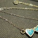 CHARMING SILVER BLUE GEM THREE HEART PENDANT SILVER CHAIN FAMILY GIFT