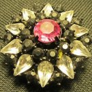GORGEOUS VINTAGE CLEAR BLACK & PINK CRYSTAL CUT GEMS CLUSTER ROUND STAR PIN