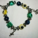 STRETCH BEADED MULTI-COLOR & SILVER WITH FISH & KEY CHARMS BRACELET