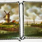 STUNNING VILLEROY AND BOCH SET OF 2 FRAMED TILES 'HOLLAND VILLAGE SERIES'