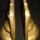 VINTAGE CAST IRON BRONZE COLORED LIBERTY BELL BOOK ENDS DOOR STOPPERS SET OF 2