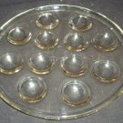 VINTAGE PYREX FRANCE CLEAR GLASS ROUND ESCARGOT DISH SERVING PLATTER