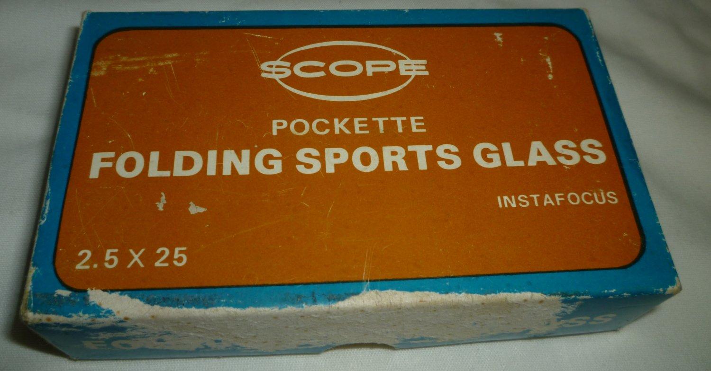 VINTAGE SCOPE POCKETTE FOLDING SPORTS OPERA GLASSES INSTAFOCUS MADE IN JAPAN