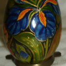 BEAUTIFUL COLLECTIBLE HAND PAINTED WOODEN EGG BLACK W/ FLOWERS DISPLAY STAND
