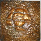 VINTAGE HAND HAMMERED COPPER PICTURE OF SAILBOAT SIGNED JLC WALL HANGING NAUTICAL