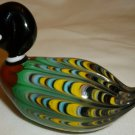 VINTAGE GORGEOUS COLORFUL MURANO GLASS ITALY MINIATURE MALLARD DUCK FIGURINE