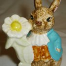 CHARMING BEATRIX POTTER BUNNY WITH FLOWER FIGURINE FIGURINE