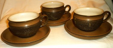 VINTAGE DENBY COTSWOLD ENGLAND TEXTURED BROWN STONEWARE COFFEE/TEA CUP SAUCER 3