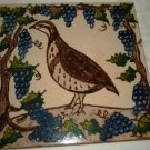 VINTAGE CERAMIC TILE HANDPAINTED IN GREECE GRAPES BIRD