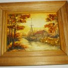 BEAUTIFUL FRAMED PICTURE OF FISHERMAN BOAT DECORATED WITH BALTIC LATVIAN AMBER