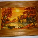 BEAUTIFUL FRAMED PICTURE OF BOAT ON A POND DECORATED WITH BALTIC LATVIAN AMBER
