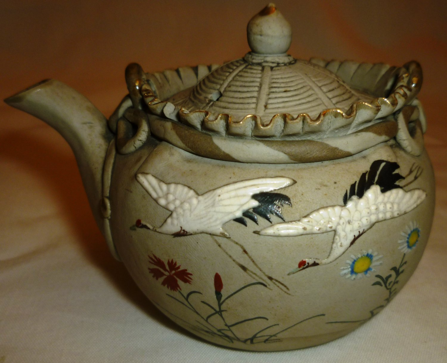 Antique Japan Banko Pottery Porcelain Small Teapot