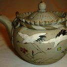 ANTIQUE JAPAN BANKO POTTERY PORCELAIN SMALL TEAPOT HANDPAINTED WITH CRANES STORK
