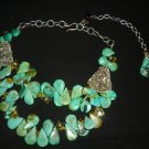VINTAGE NATIVE AMERICAN NAVAJO GREEN TURQUOISE TEAR DROP BEADS & SILVER NECKLACE