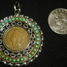 BEAUTIFUL SUN BURST TURQUOISE BEADS INDIAN PENDANT WITH PENNY 1907