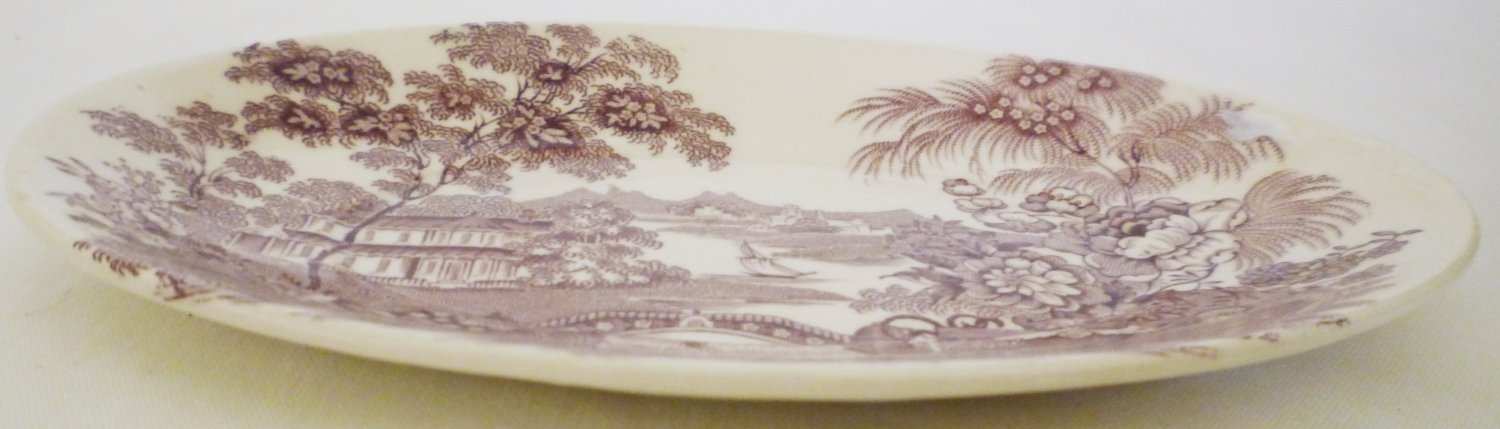 VNTG ROYAL STAFFORDSHIRE ENGLAND TONQUIN CERAMIC RED OVAL PLATE CLARICE CLIFF