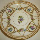 BEAUTIFUL ANTIQUE GILDED HANDPAINTED FINE PORCELAIN UNIDENTIFIED HALLMARK SAUCER