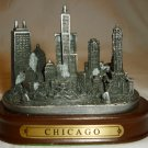 TRAVEL MEMORABILIA SOUVENIR CHICAGO SKYLINE PEWTER FIGURINE