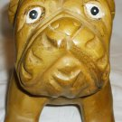 CHARMING WOOD CARVED STATUE FIGURINE BULLDOG DOG