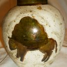 VINTAGE SOUTH WESTERN WHITE CLAY WHEEL THROWN POTTERY VASE MARILYN NORRIS LIZARD