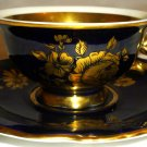 VINTAGE COLLECTIBLE KPM ROYAL PORCELAIN GOLD GILDED COBALT DEMITASSE CUP/SAUCER