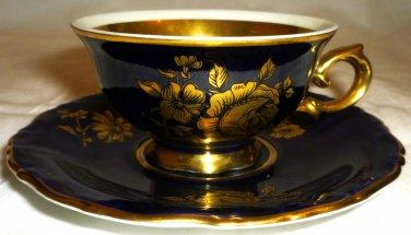 VINTAGE COLLECTIBLE KPM ROYAL PORCELAIN GOLD GILDED COBALT DEMITASSE CUP/SAUCER
