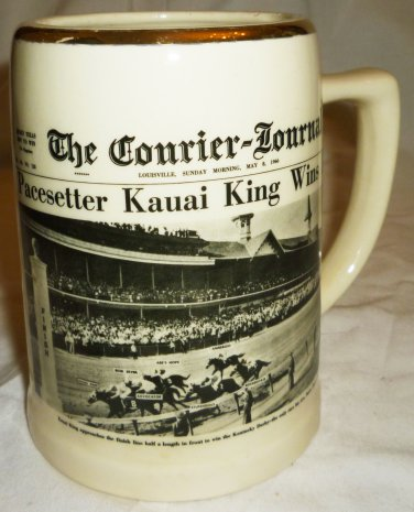 UNIQUE COLLECTIBLE KENTUCKY DERBY 1966 NEWSPAPPER STONEWARE MUG DELANO STUDIOUS