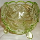 ANTIQUE COLLECTIBLE SOWERBY URANIUM GLASS FISH SCALES 3 FEET SMALL BOWL ENGLAND