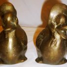 VINTAGE SOLID BRASS SET OF 2 FIGURINES DUCK COUPLE VERY HEAVY DOOR STOPPER
